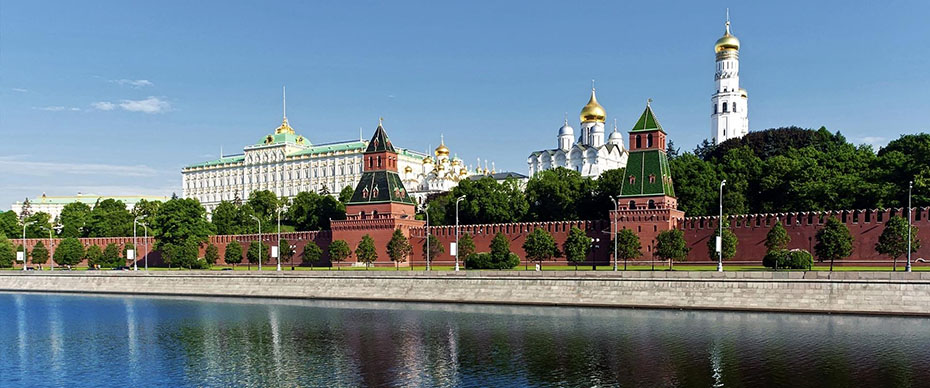 A panoramic from the river toward the Kremlin, Moscos, Russia, illustrates The Sign of the Seventh King-Mountain-Kingdom of Revelation.