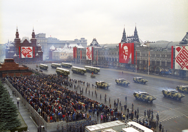 The military might of the USSR on display during an annual parade.